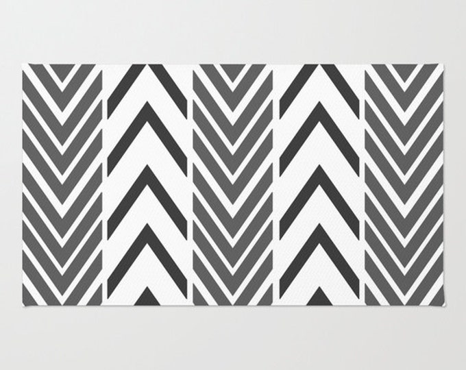 Black and White Floor Rug - Door Rug - Black Arrows - Bathroom Rug  - Original Art - Throw Rug - Black ZigZag - Made to Order