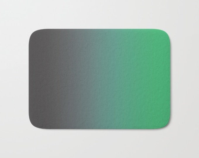 Bath Mat - Gray to Green - Ombre - Shower Mat - Bathroom Mat -  Made to Order