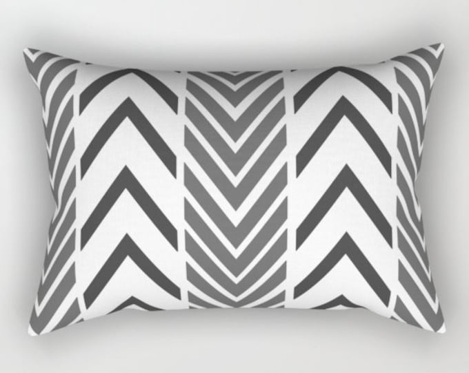 Black Arrow Rectangular Bed Pillow -  Includes Insert - Black and White Arrow  - Sofa Pillow Cover - Black White Arrow Art - Made to Order