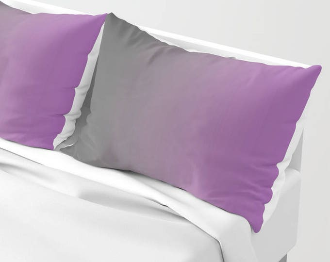 Pillowcases - Pillow Shams - Gray to Purple Ombre - Original Art - Made to Order