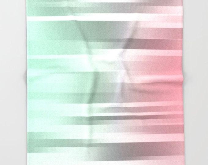 Mint Green Fleece Throw Blanket - Bedding - Mint Green - Gray - Coral Pink - Fleece Throw Blanket - Ombre - Made to Order