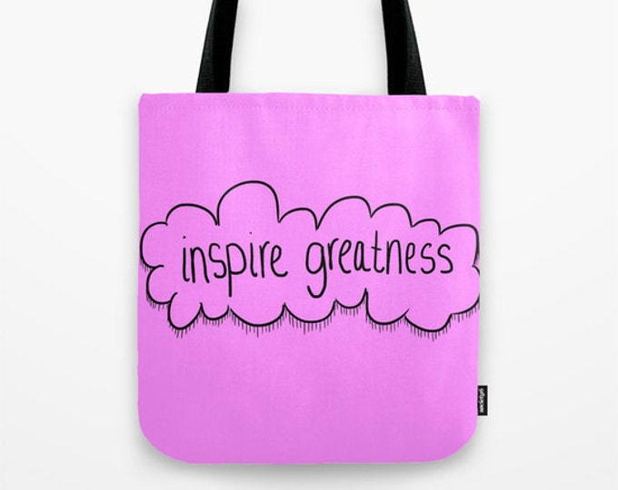 Purple Bag - Book Bag - Tote Bag - Grocery Bag - Beach Bag - Purple Motivational - Inspire Greatness - Made to Order