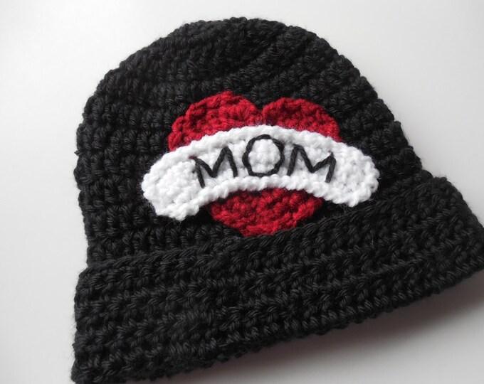 Biker Baby Beanie - I love Mom - Baby Hat - Handmade Crochet - Made to Order