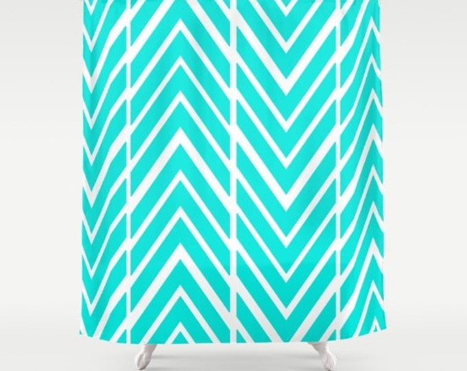 Bright Turquoise Shower Curtain -  Bathroom Decor - Shower Curtain - Made to Order