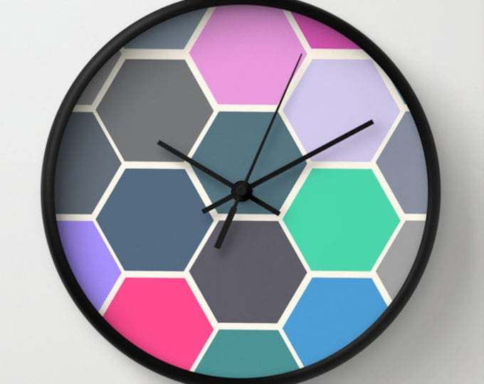 Colorful Hexagon Clock - Black Frame and Hands - Wall Clock - Hexagon Art - Unusual Clock -  Ready to Ship