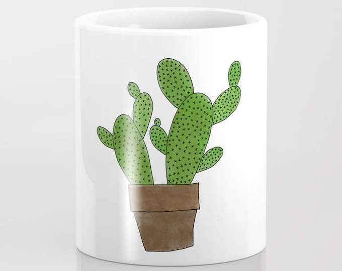 Cactus Coffee Mug - Southwestern Theme - Cactus Art - Coffee Cup - Coffee Mug - 11oz - 15oz - Ceramic - Made to Order