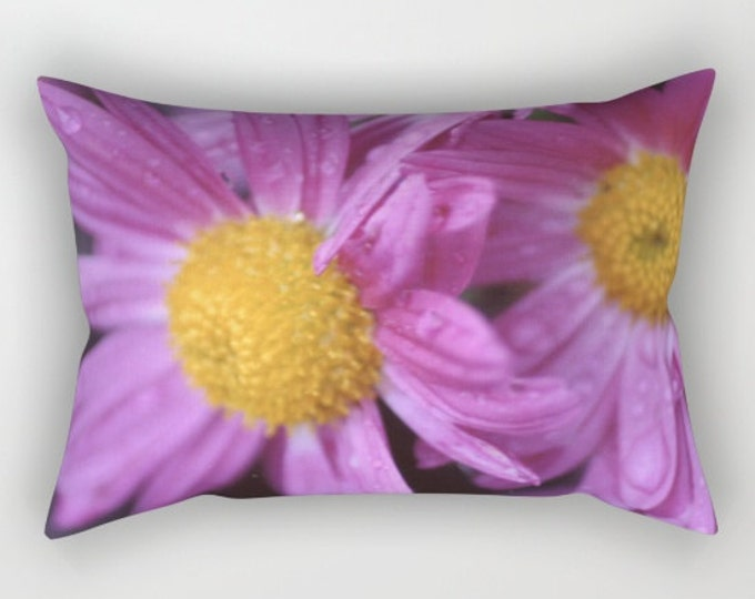Flower Pillow With Insert - Purple Flower Photo - Rectangular Bed Pillow - Throw Pillow Cover - Made to Order