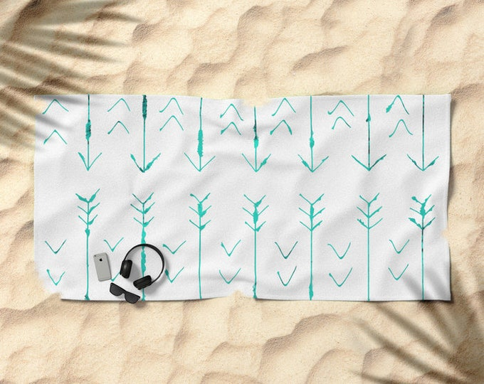 Beach Towel - Teal Arrow - Hand Drawn Arrows - Pool Towel - Over-sized  - Microfiber - Cotton Terry Cloth - Made to Order