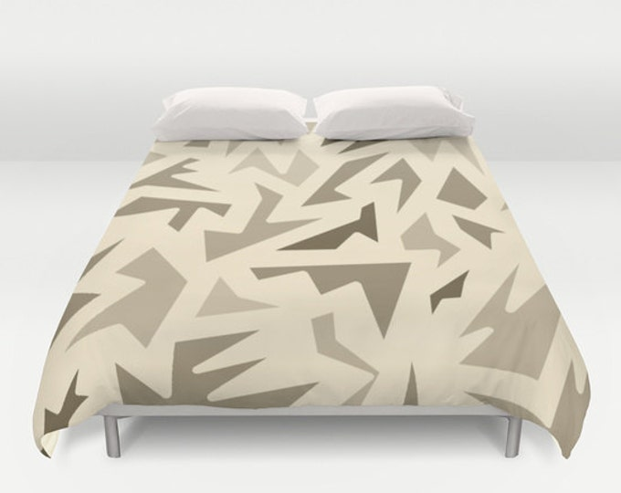 Brown Abstract Bed Cover - Shades of Brown Zig Zag - Duvet Cover Only - Bed  Spread - Bedroom Decor - Made to Order
