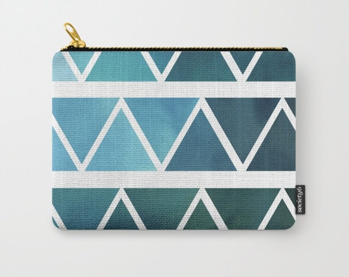Blue Modern Make-up Bag-Original Art Blue Triangles - Pouch-Carry All Pouch- Toiletry Bag - Change Purse - Organizing Bag - Made to Order