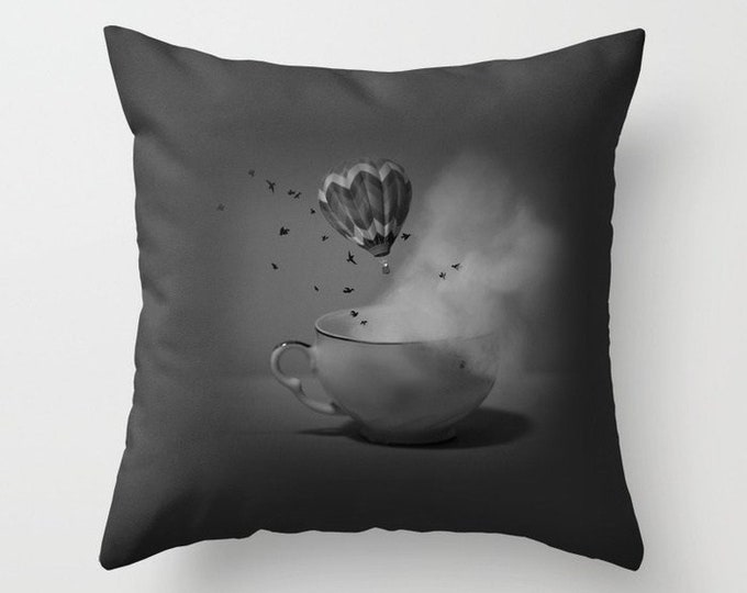 Tea Cup Pillow Cover Includes Pillow Insert - Hot Air Balloon - Fantasy Pillow - Original Photo Pillow - Made to Order