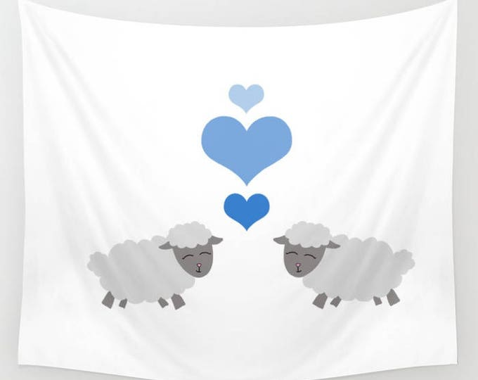Nursery Hanging Tapestry - Lamb Nursery - Sheep Nursery - Large Wall Hanging - Child's Room Tapestry Decor - Made to Order