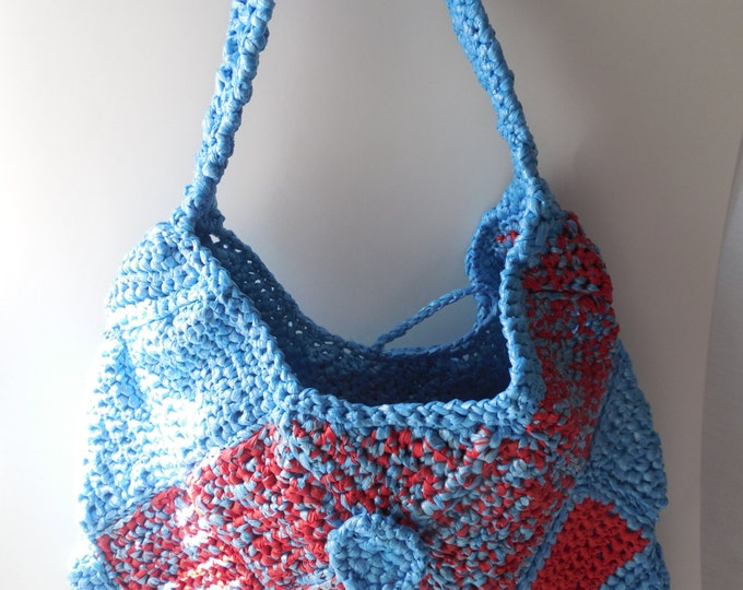 Purse Blue and Red - Large Purse - Bag - Tote - Handmade Crochet - Shoulder Bag - Ready to Ship
