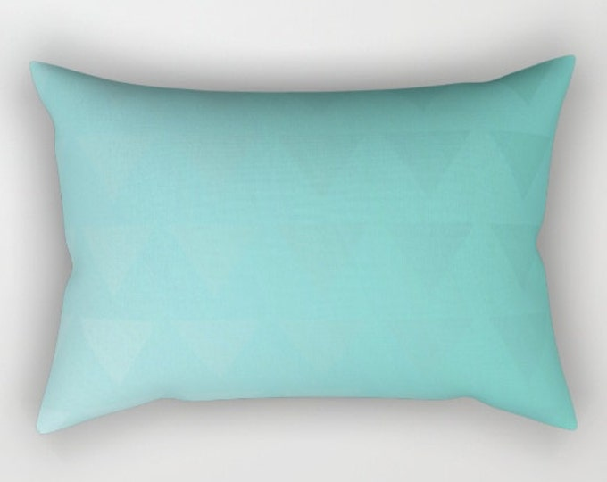 Cyan Blue Pillow Cover - Includes Insert - Blue Triangle Art - Rectangular Bed Pillow - Made to Order