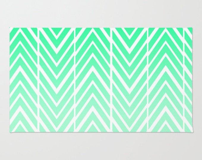 Floor Rug - Mint Green and White - Door Rug - Green Arrows ZigZag - Bathroom Rug  - Original Art - Throw Rug - Made to Order