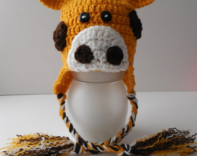 Giraffe Animal Hat - Giraffe Earflap Hat - Baby to Adult Sizing - Handmade Crochet - Ready to Ship