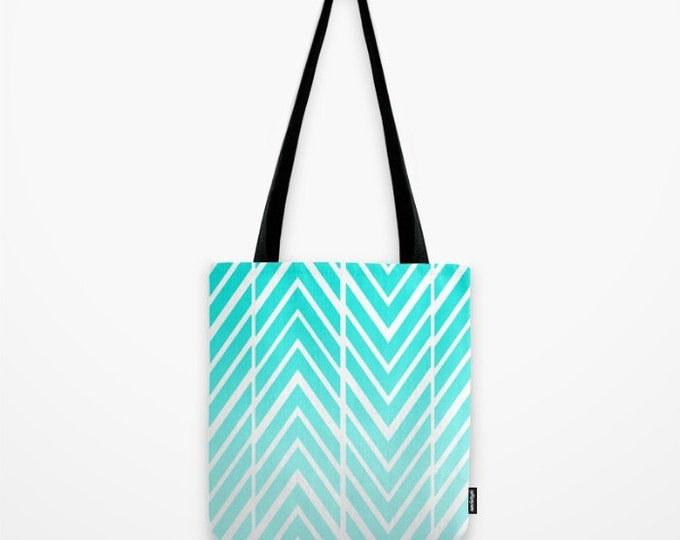 Turquoise Blue Tote Bag - Arrows Blue and White - Childs Tote Bag - Beach Bag - Grocery Bag - Original Art Tote - Made to Order