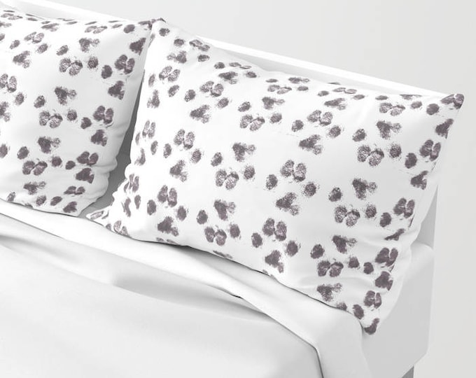 Pillowcases - Pillow Shams - Paw Print Pillow - Original Art - Dog Lover - Animal Lover -  Made to Order