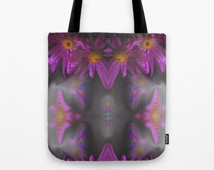 Tote Bag - Purple Flowers - Grocery Bag - Beach Bag - Book Bag - Made to Order