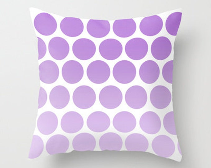 Purple Polka Dots - Throw Pillow Cover Includes Pillow Insert - Polka Dot Pillow - Sofa Pillow - Decorative Pillow - Made to Order