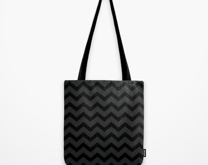 Black and Grey Chevron Tote Bag - Beach Bag - Grocery Bag - Zig Zag Tote Bag - Made to Order