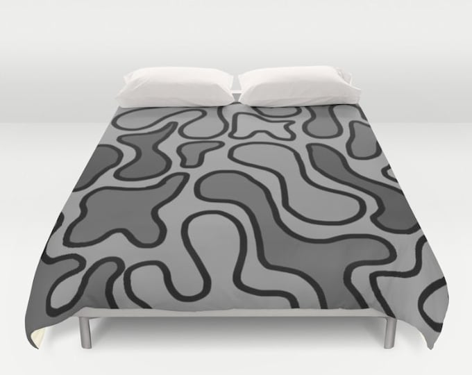 Gray Bed Cover - Duvet Cover Only -  Duvet Cover -  Bed  Spread - Squiggle Art - Bedroom Decor - Made to Order