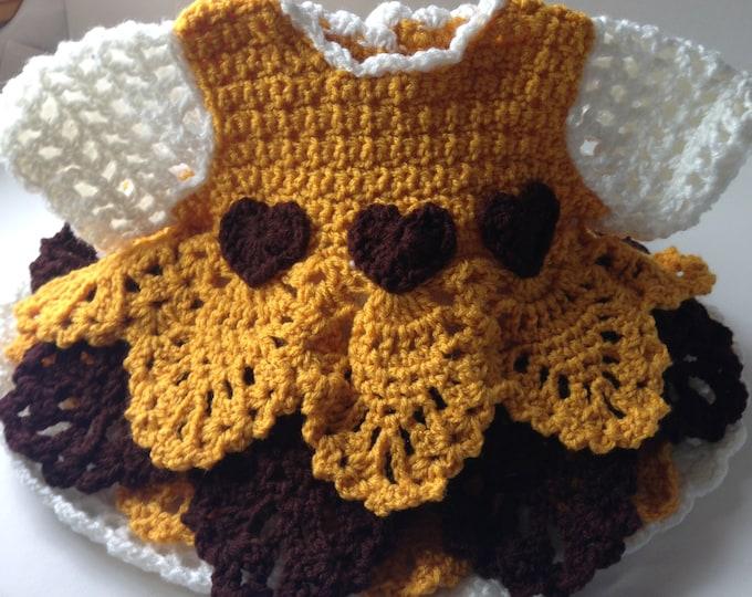 Baby Dress - Baby Ruffle Dress - Ruffle Baby Dress - Party Dress - 3 Months - 6 Months - 12 Months - Handmade Crochet - Made to Order