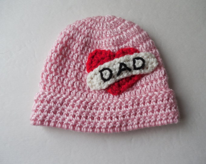 Pink Biker Baby Beanie - I love Dad - Baby Hat - Handmade Crochet - Made to Order