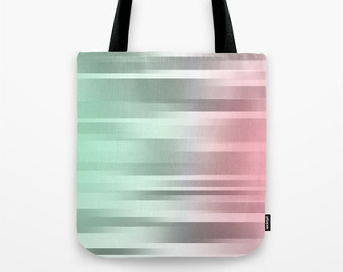 Mint - Grey - Pink Tote Bag - Grocery Bag - Beach Bag - Book Bag - Motion Green Gray Coral Pink - Made to Order