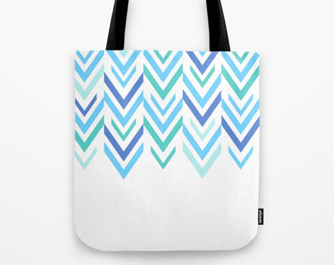 Blue Tote Bag - Blue Arrows - Grocery Bag - Beach Bag - Book Bag - Original Art Work - Made to Order