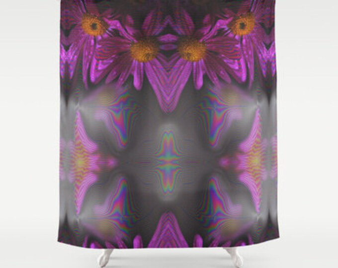 Purple Abstract Flowers - Shower Curtain - Purple Flowers - Original Photo Art - Made to Order
