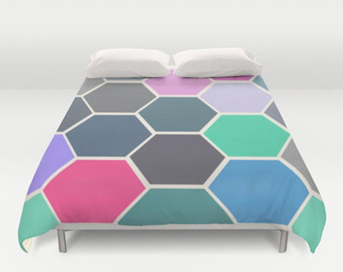 Colorful Hexagon Art  Duvet Cover - Bed Cover - Duvet Cover Only - Bed  Spread - Full Bedding - Queen Bedding - King Bedding - Made to Order