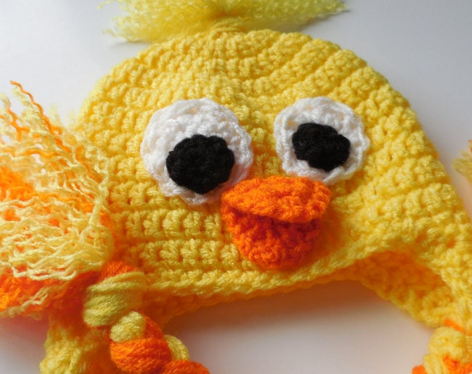 Duck Baby Hat - Crochet - Crochet Duck Hat - Baby Photo Prop - Handmade - Made to Order
