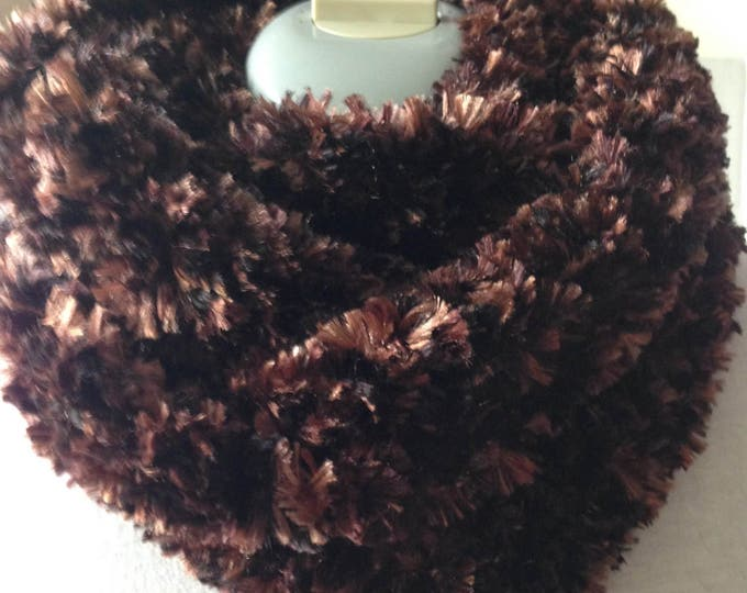 Soft Brown Scarf - Circle Scarf - Infinity Scarf - Handmade Crochet - Ready to Ship