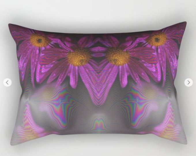 Abstract Purple Flower Rectangular Bed Pillow -  Includes Insert -  Sofa Pillow Cover - Bed Pillow - Made to Order