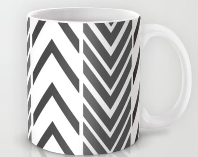 Black and White Coffee Mug  - Black and White Arrows Mug - Coffee Cup - 11oz - 15oz - Made to Order
