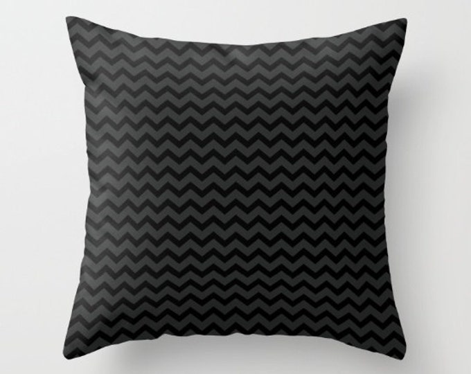 Black and Gray Small Chevrons Throw Pillow Cover Includes Pillow Insert - Sofa Pillow - Decorative Pillow - Made to Order
