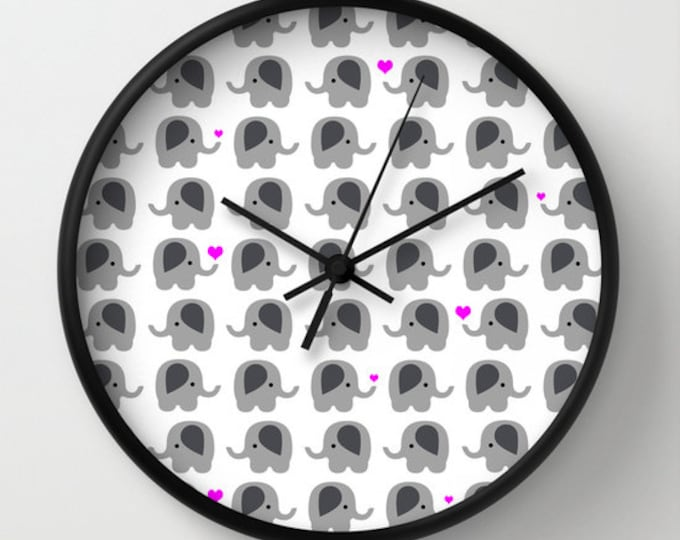 Elephant Nursery Clock -  Wall Clock - Lots of Elephants - Elephants with Hearts - Made to Order