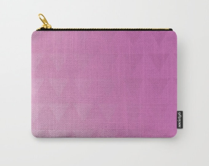 Purple Pink Carry All Pouch - Make-up Bag- Original Ombre Triangle Art- Pouch- Toiletry Bag - Change Purse - Organizing Bag - Made to Order