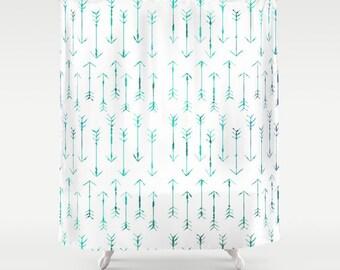 Teal Arrow Shower Curtain