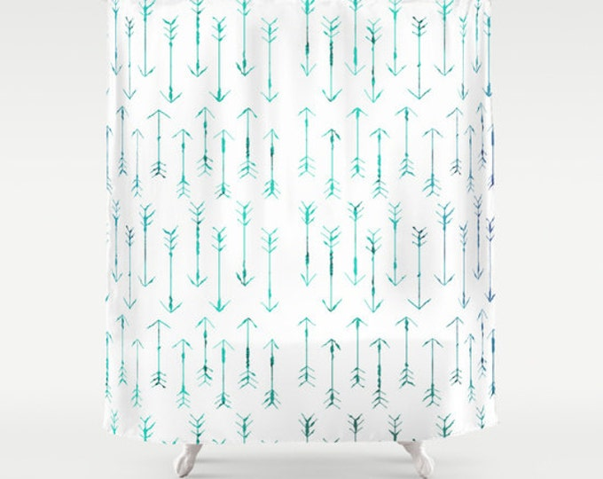 Teal Arrow Shower Curtain - Arrow Shower Curtain - Hand Drawn Arrows - Bathroom Decor  - Made to Order