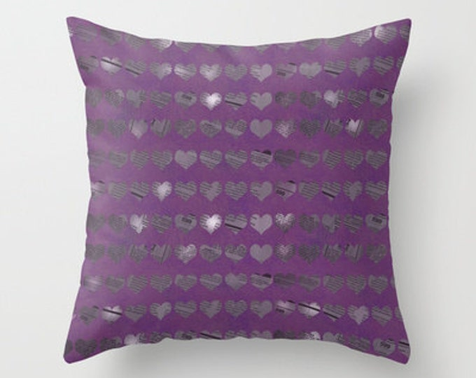 Purple Hearts Throw Pillow Cover Includes Pillow Insert - Newspaper Heart Photo Art - Purple Sofa Pillow - Made to Order