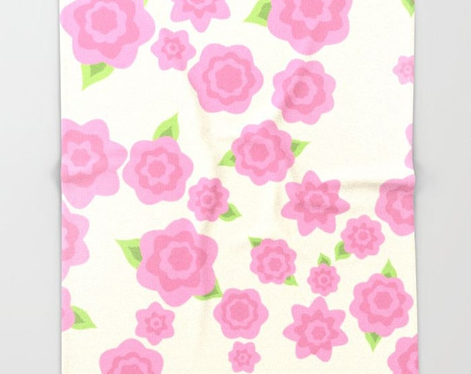 Pink Flower Fleece Throw Blanket - Bedding - Flower Art - Pink Fleece Throw Blanket - Made to Order