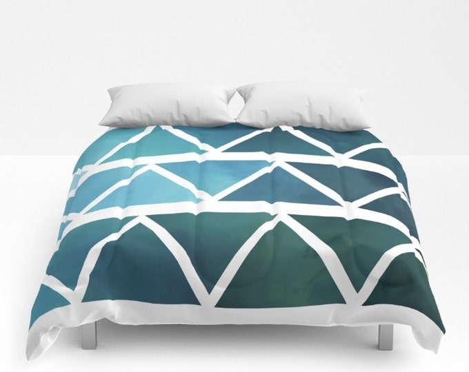Blue Triangle Art Comforter - Modern Blue Ombre - Bed Cover - Bedding - King - Queen - Full - Made to Order