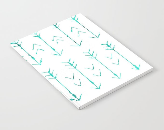 Teal Arrow Notebook - Hand Drawn Arrow Art - Blank Book - Lined - Unlined - Made to Order