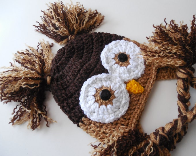 Baby Owl Hat - Brown Owl Hat - Baby to Adult Sizing - Photo Prop - Handmade Crochet - Made to Order