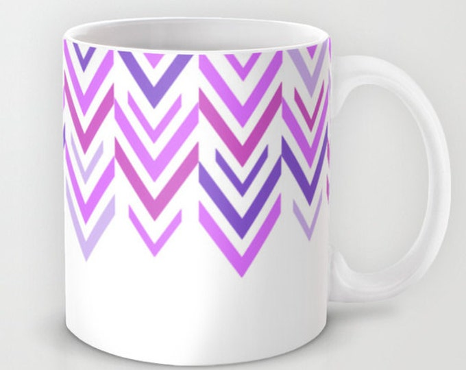Purple Mug -  Coffee Cup - Purple Arrow Art - White and Purple - ZigZag - Made to Order