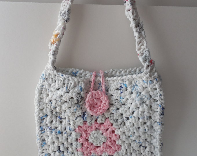 Crochet Pink and White Purse - Plarn - Handmade - Crochet - Ready to Ship