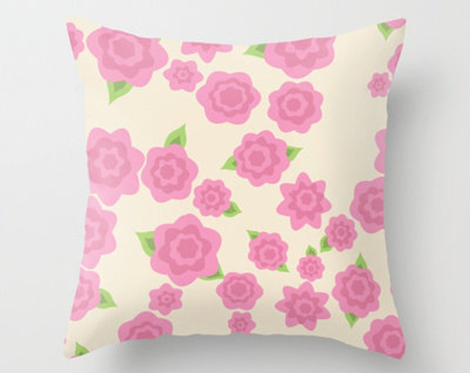 Pink Flower Throw Pillow Cover Includes Pillow Insert - Flower Art - Sofa Pillow - Throw Pillow - Made to Order