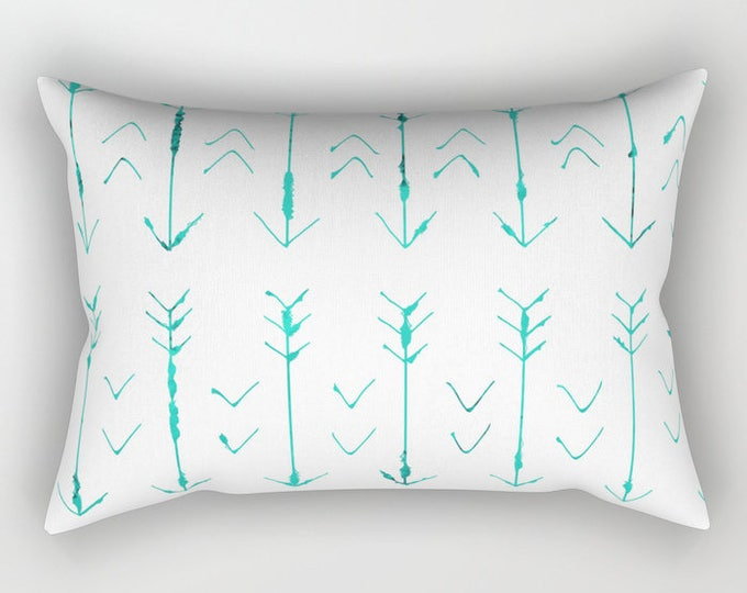 Teal Arrow Pillow Includes Pillow Insert - Rectangular Pillow - Bed Pillow  - Lumbar Throw Pillow - Made to Order